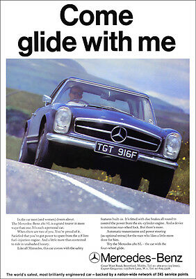 Mercedes 280sl w113 pagoda retro a3 poster print from for Vintage mercedes benz posters
