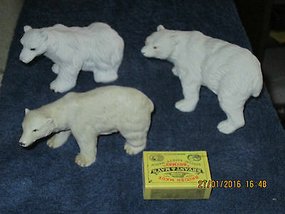 POLAR BEAR ORNAMENTS     X  3  as shown in picture   394g LOT 11