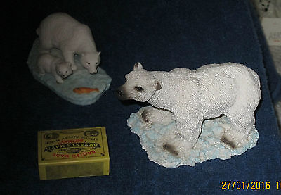 POLAR BEAR ORNAMENTS  ON BASES   X  2  as shown in picture   368g LOT 10
