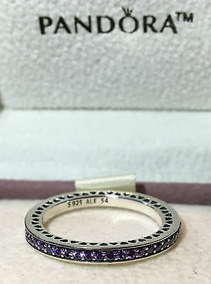 Pandora Purple Radiant Hearts Of Pandora Ring ,s925 Ale Sterling Silver,all Size
