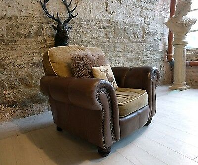 181 Leather armchair chesterfield vintage distressed cigar club Pair available