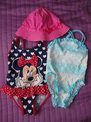Baby Girl Two Swimsuits Plus Hat Size 18-24 Months