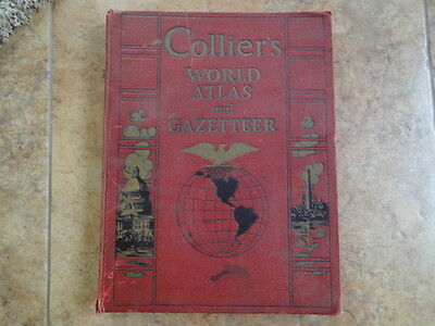 Vintage 1939 Collier's World Atlas and Gazetteer Book Hard Cover