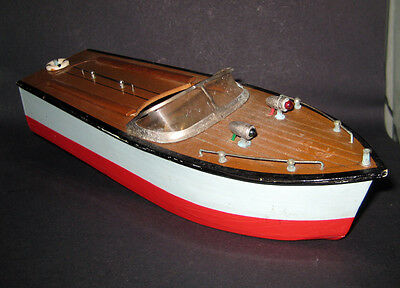 Vintage 1950S Japanese Battery Operated Wooden Model Speed Boat