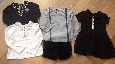 Next Girls Bundle. Set Of 2 Tops, Shorts Outfits & Black Lace Dress. 2-3 Years.