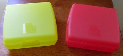 Tupperware Set/2 Sandwich Keepers Yellow & Watermelon NEW