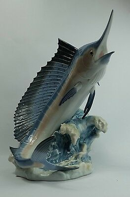 "Retired Lladro Marlin Fish ""Majesty Of The Seas"" Figurine Boxed 06796"