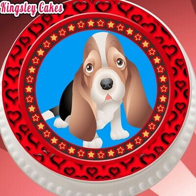 EDIBLE ICING LARGE CAKE TOPPER 7.5 INCH RED BORDER CUTE HOUND DOG PUPPY KC6005l