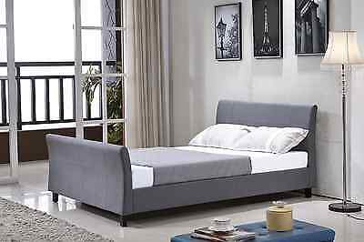 Giada Modern Fabric 4FT6 Double/King Size Bed Sleigh Bed + Memory Foam Mattress