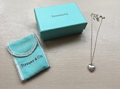 """Tiffany & Co. Sterling Silver Puffed Heart Pendant Necklace 18"""" Chain"""