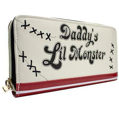 New Official Dc Suicide Squad Daddys Lil Monster White Zip Around Tri-Fold Purse