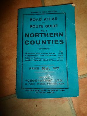 Rare Vintage Road Atlas+Route Guide No 4 Northern Counties Geographia Ltd + Map