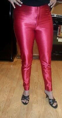 70's 80's red satin shiny spandex high waist disco costume pants jeans large