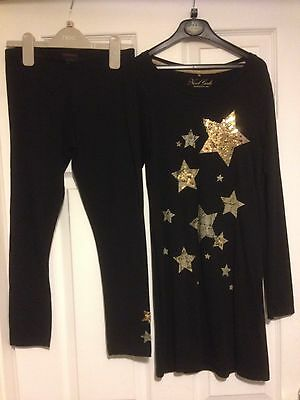 Next Black Top With Gold Sparkly Stars  And Leggings Age 10