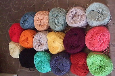 17 MIXED COLOUR BALLS OF 2 PLY COTTON THREAD  APPROX 285gms MINIATURE KNITTING