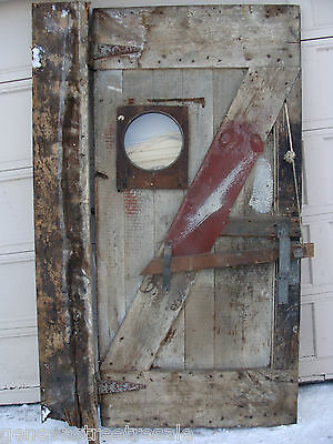 Antique Primitive Reclaimed Wood Barn Door w/ window hardware plank & beam decor