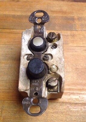 VINTAGE ARROW CERAMIC PUSH BUTTON ON-OFF Pearlized SWITCH Steampunk