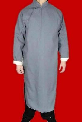 Premium Linen Grey Kung Fu Martial Arts Tai Chi Long Coat Robe XS-XL Tailor