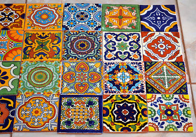 "24 Mexican Talavera Tiles.Hand painted 4 ""X 4"""