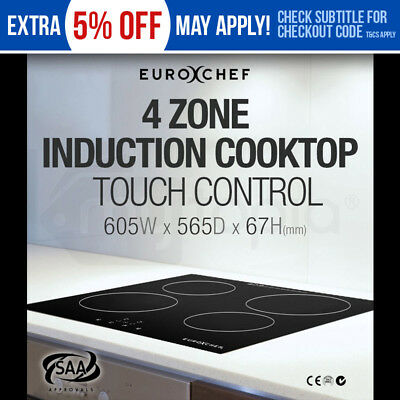 EuroChef Electric Induction Cooktop- 4 Zone Safe Touch Burner Kitchen Cooker