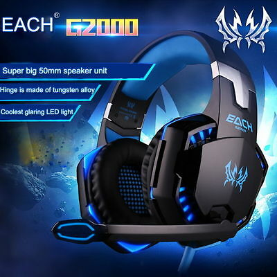 EACH G2000 Pro Game Gaming Headset 3.5mm LED Stereo PC Headphone w/ Microphone A
