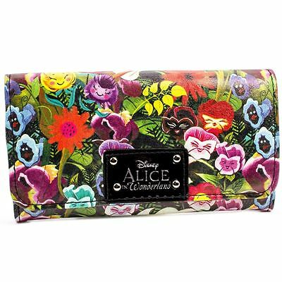 New Official Disney Alice In Wonderland Floral Green Coin & Card Tri-Fold Purse