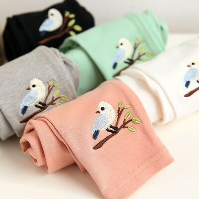 Toddler Kids Girl Baby Cotton Pants Bird Pattern Stretch Warm Long Trousers New