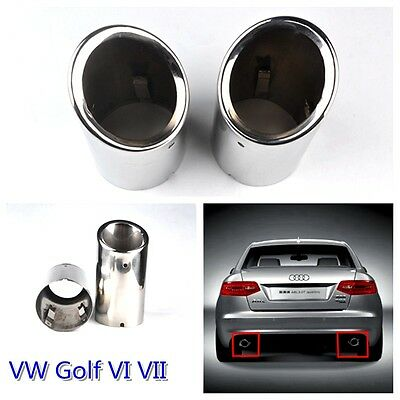 2 pcs NEW Stainless Steel Exhaust Tailpipe Trim Tip Fit VW  Golf  VI VII