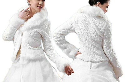 New Short White Fur Wrap/Coat For Wedding Prom Evening Party Bride Cape/Shawl