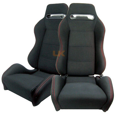 Pair of Classic Black Cloth Racing Seats w/ Red Stitch JDM Style for Lexus