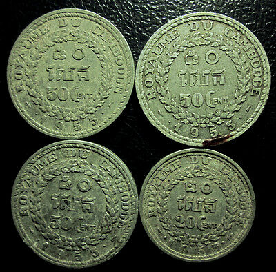 Cambodia Indochine - Aluminum - Lots of 4 coins 3x50, 1x20 Cent 1953s - VF!!!