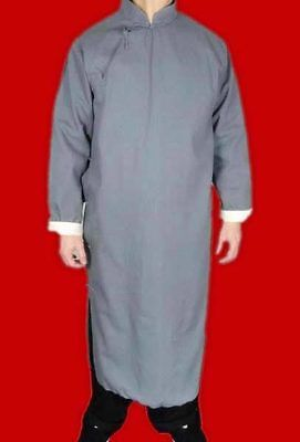 100% Cotton Grey Kung Fu Martial Arts Tai Chi Long Coat Robe XS-XL Tailor Made
