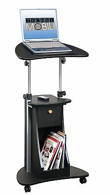 Techni Mobili Deluxe Rolling Laptop Cart with Storage Black New