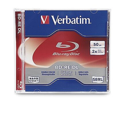 Verbatim BD-RE DL 50GB 2X with Branded Surface - 1pk Jewel Case 97536 New