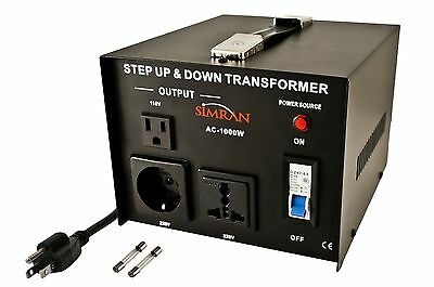 Simran AC-1000 Step Up/Down Voltage Converter Transformer 110V/220V-1000-... New