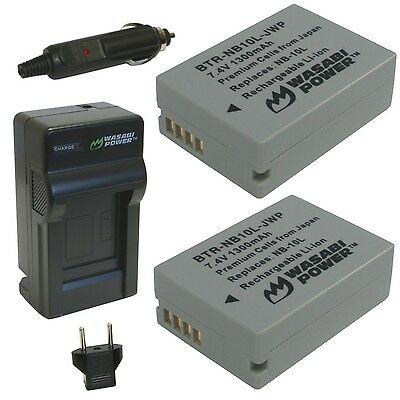 Wasabi Power Battery (2-Pack) and Charger for Canon NB-10L CB-2LC and Can... New
