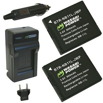 Wasabi Power Battery (2-Pack) and Charger for Canon NB-11L NB-11LH and Ca... New