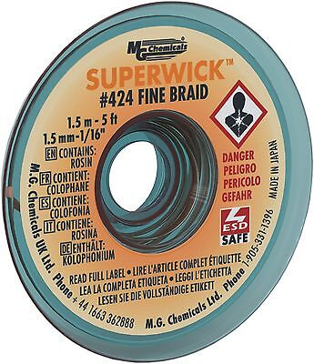 MG Chemicals 400 Series #2 Fine Braid Super Wick with RMA Flux 5-Feet Len... New