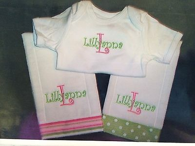 Personalized Baby Girl Burp Cloth and Onesie Set