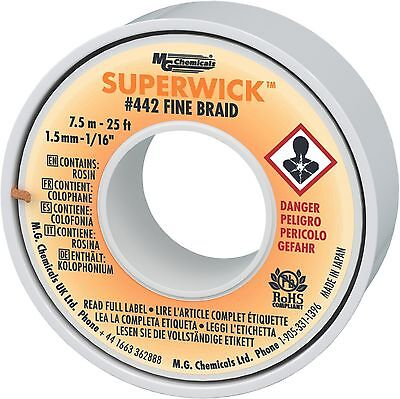 MG Chemicals 400 Series #2 Fine Braid Super Wick with RMA Flux 25-Feet Le... New