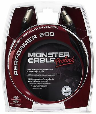 Monster Performer 600 Microphone Cable 20-Feet Gold Contact XLRs New