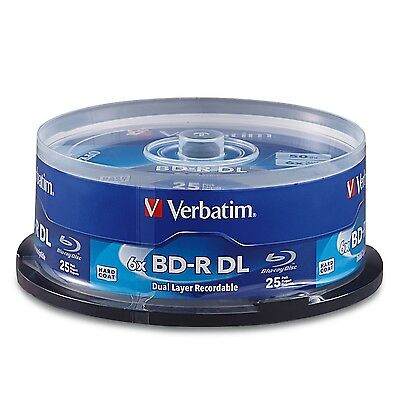 Verbatim 98356 BD-R DL 50GB 6X with Branded Surface 25 - Disc Spindle New