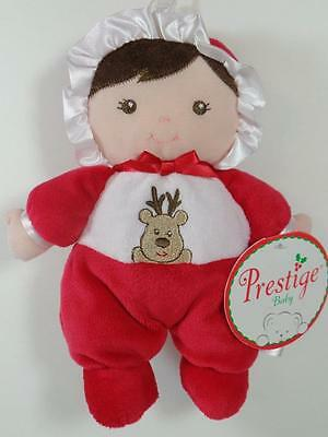 New Prestige Baby's FIRST CHRISTMAS Plush Brown Hair DOLL & Rattle