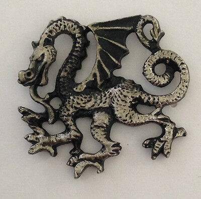 Vintage Sculpted Oriental Dragon P old metal badge