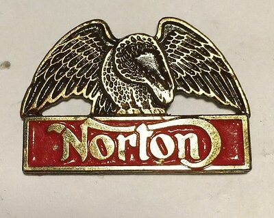 Vintage Sculpted Norton Spanning Eagle B1 Motorcycle old metal badge