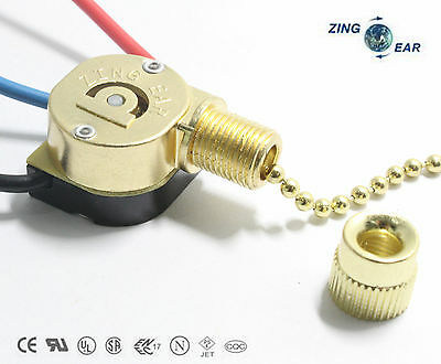 Zing Ear ZE-109M Pull Chain Switch Shell Brass Replacement With 2 Ft Chain