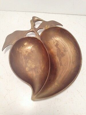 Vintage Brass Apple Dish Trinket Nuts Candy Made In Hong Kong