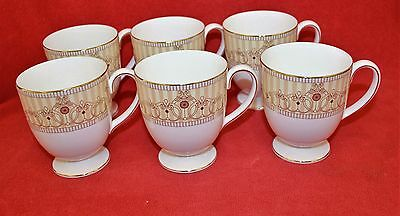 Wedgwood ~ Alexandra Champagne Design ~ Footed Mugs X 6