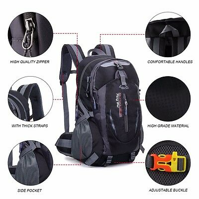 40L Waterproof Outdoor Backpack Athletic Sport Hiking Travel Rucksack Black Bag