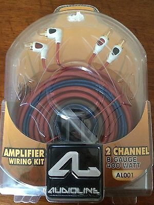 Audioline Car Audio Amplifier Wiring Kit Power Cable 8 Gauge RCA New Quality Kit